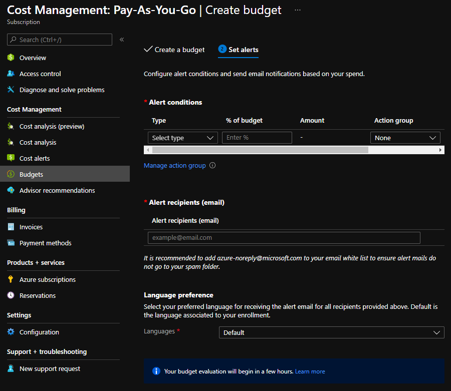 Azure Budget alarms page